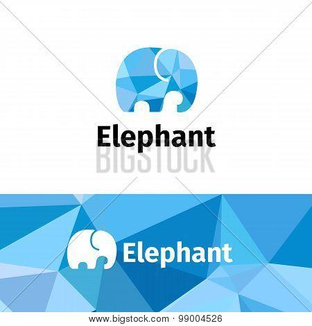 Vector polygonal minimalistic elephant logo. Low poly logotype