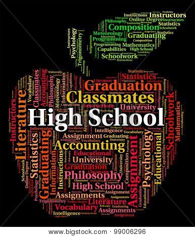 High School Indicates Colleges Word And Text