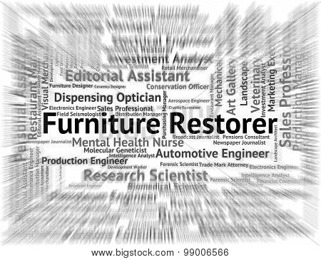 Furniture Restorer Indicating Occupations Refurbish And Fitments poster