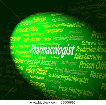 Pharmacologist Job Indicates Work Employee And Words