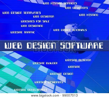 Web Design Software Represents Programming Words And Network