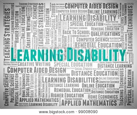 Learning Disability Words Indicates Special Needs And Text