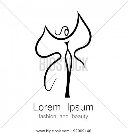 Woman - butterfly, idea-sign logo for the women's center, fashion store, beauty salon, hairdressing salon. poster