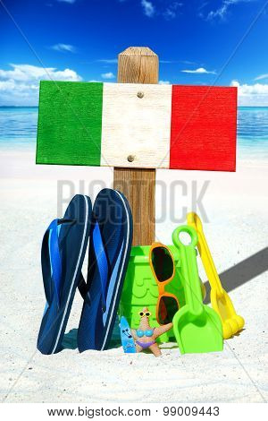 Wooden Signboard With Italy Flag