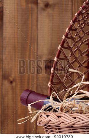 Wine Bottle In Basket