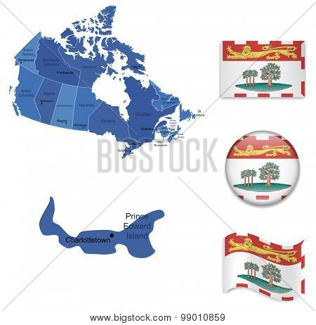 Canada-Prince Edward Island-Map and Flag Collection