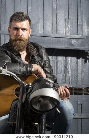 Biker Man With Guitar