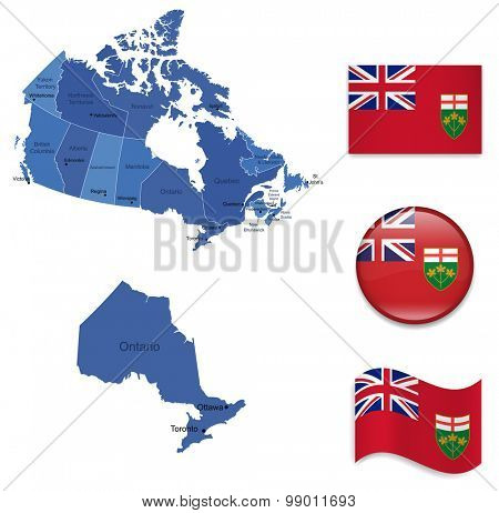 Canada-Ontario-Mapand Flag Collection