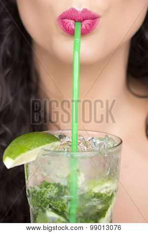 Female Face And Mojito