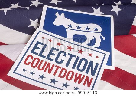 Democrat election Countdown on textured American flag poster