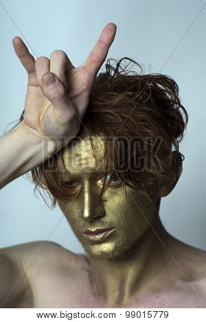Golden Man With Cool Gesture
