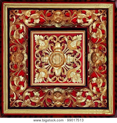 Beautiful, Symetrical, Hand Carved And Painted, Wooden Relief