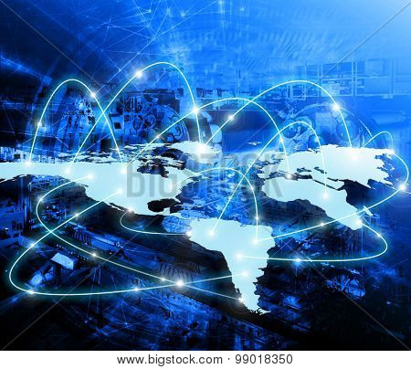 World map on a technological background, bright lines and rays, symbols of the Internet, radio, television, mobile and satellite communications. Best Internet Concept of global business