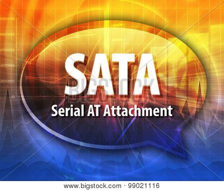 SATA acronym definition speech bubble illustration