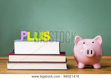 Federal Plus Loan Theme With Textbooks And Piggy Bank