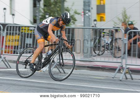 Cyclist Competing