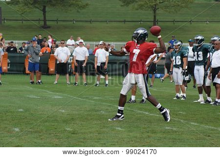 Former Philadelphia Eagles Quarterback Michael Vick Throws a Pass