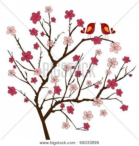 Cherry tree with two whimsical  songbirds (use with or without(