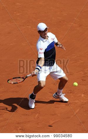 Professional tennis player Kei Nishikori of Japan during second round match at Roland Garros 2015