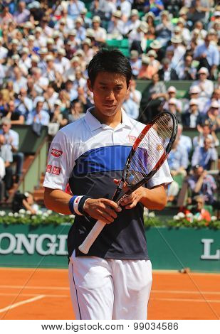 Professional tennis player Kei Nishikori of Japan during second round match at Roland Garros 2015