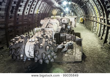 Mine Excavator Facing Coal Wall