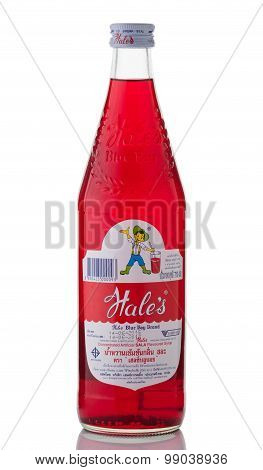 BANGKOK THAILAND - Jul 26 2015: A single bottle of Hale's Blue Boy flavoured syrup on white background. Produced by Hale's trading (Thailand) Co.Ltd.