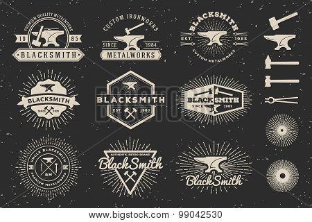 Set of Modern Vintage Blacksmith and Metalworks Badge Logo Template