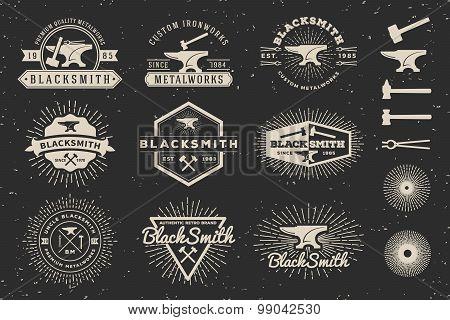 Set of Modern Vintage Blacksmith and Metalworks Badge Logo Template Design with anvil, hammer, starburst. Vector illustration poster