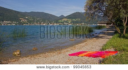 Lonesome Beach At Lake Shore Tegernsee, Bathing Towel