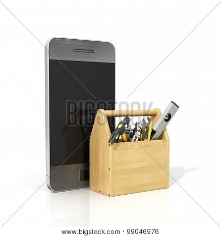Concept of technical service and repair phone. Wooden box with tools near phone on a white background. Technical support. poster