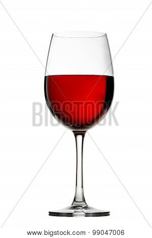 Red wine in a glass isolated on white background - realistic photo image.