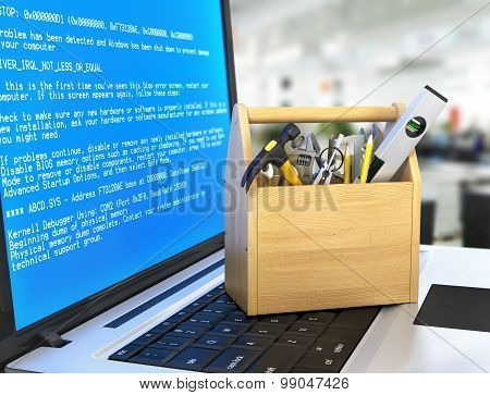 Concept of technical service and repair computer. Wooden box with tools at the keyboard notebook on a blurred background. Technical support. poster