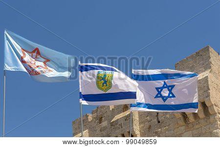 Flag of Israel Jerusalem, and IDF