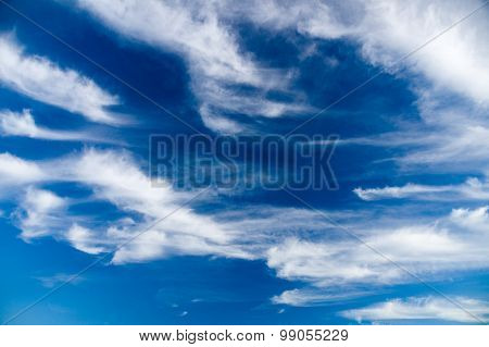 Deep Blue Sky With Picturesque Stratus Clouds