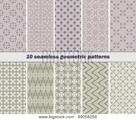 10 Seamless Abstract Geometric Patterns Of Striped Vanes Elements