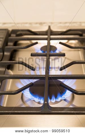Gas Flames On Modern Cooktop