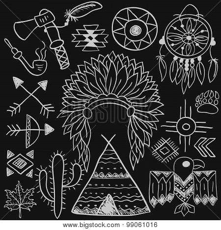 Hand Drawn Doodle Vector Native American Symbols Set