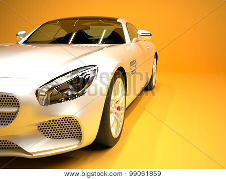 Sports car front view. The image of a sports white car on a gold background.