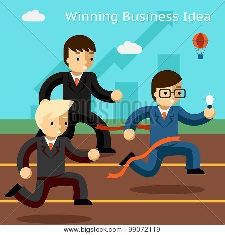 Winning business idea. Success in innovation running