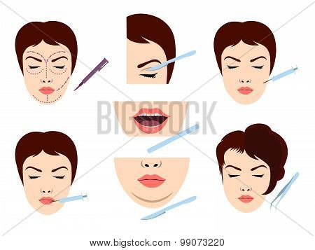 Facial cosmetic surgery icons