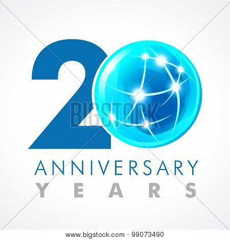 20 years old celebrating connecting logo. Anniversary year of 20 th vector template with volume cosmos 0. Greetings ages celebrates. Technologies, communicating sign with lighting flashes and sparks.