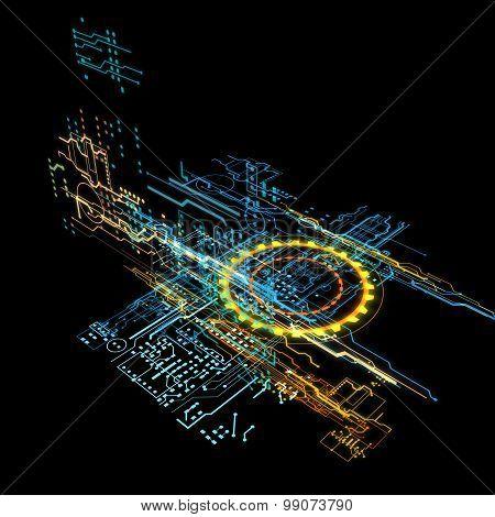 3d hologram neon blue and orange line poster
