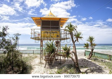 Lifeguard patrol tower number 35 on the beach, Gold Coast