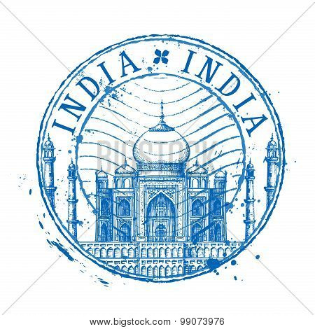 Taj Mahal vector logo design template. Shabby stamp or India icon