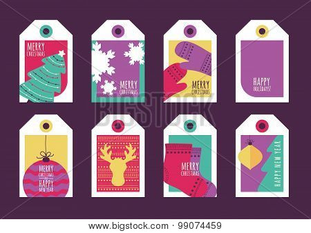 Set Of Vector Holiday Gift Tags. Happy New Year And Merry Christmas Greeting Cards.