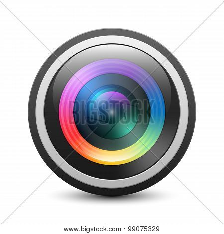 Camera Lens Icon On White Background, Vector Illustration