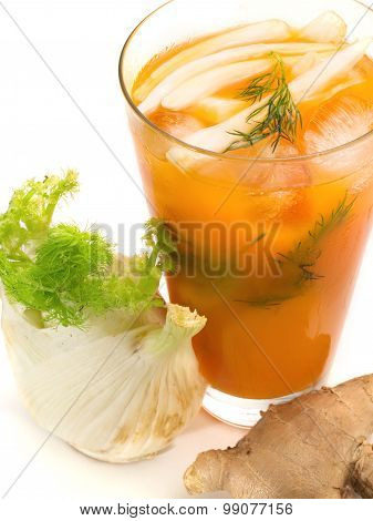 Ginger Splice smoothie isolated on white background poster
