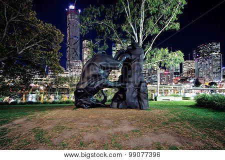 Bronze sculpture of an elephant at Brisbane Gallery of Modern Art
