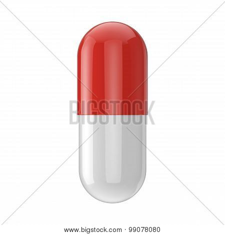 Realistic Vector Capsule Pill Isolated On White Background