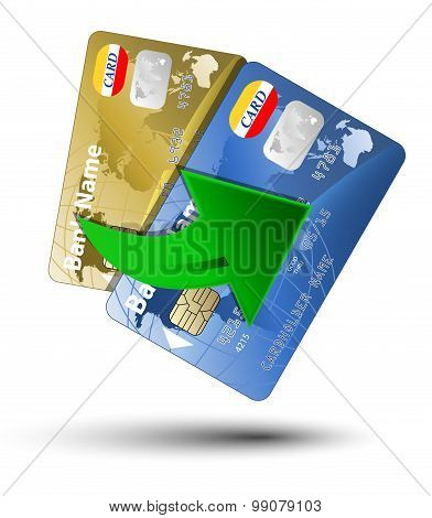 Money transfer between plastic cards vector illustration on white background poster
